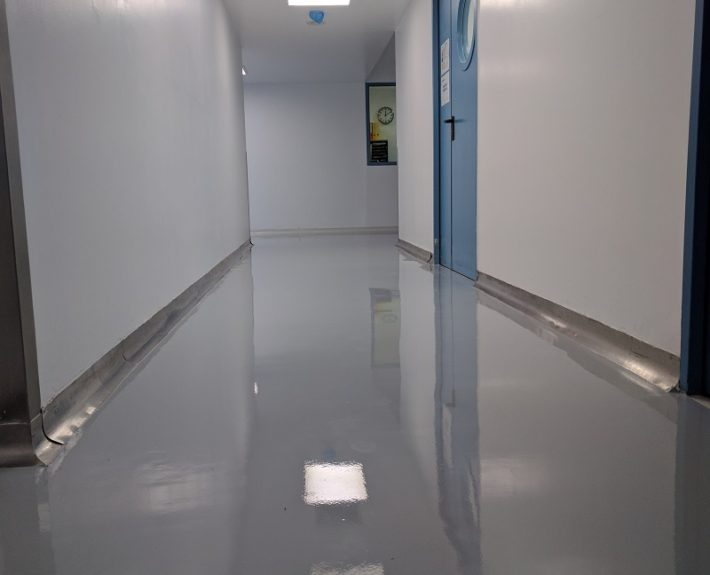 Grey Epoxy floor in corridor